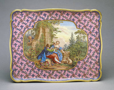 Plaque Painting - Tray Plateau Courteille Ou De Chiffonière Carcass By An by Litz Collection