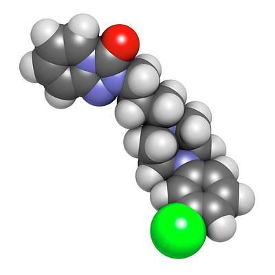 Trazodone Antidepressant Drug Molecule Art Print by Molekuul