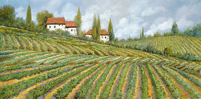 Wine Vineyard Painting - Tre Case Bianche Nella Vigna by Guido Borelli
