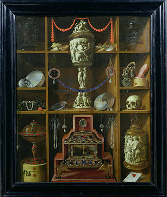 Medallion Photograph - Treasure Chest, 1666 Oil On Canvas by Johann Georg Hinz