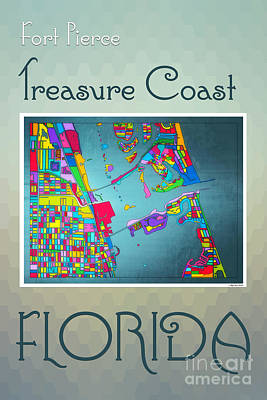 South Hutchinson Island Digital Art - Treasure Coast Map by Megan Dirsa-DuBois
