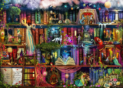 Illustration Digital Art - Fairytale Treasure Hunt Book Shelf by Aimee Stewart