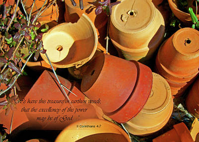 Art Print featuring the photograph Treasure In Clay Pots by Larry Bishop