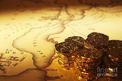 Treasure Map And Doubloons Art Print by Colin and Linda McKie