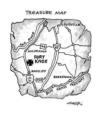 Treasure Map Drawing - Treasure Map by Henry Martin