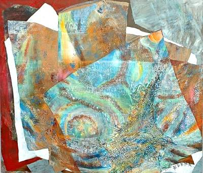 Abstract Seascape Mixed Media - Treasures From The Oceans And Above by Beena Samuel
