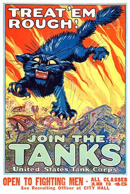 Treat 'em Rough Vintage Us Army Poster Art Print