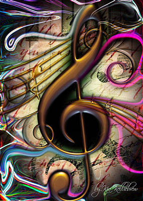 African-american Digital Art - Treble Clef by Kia Kelliebrew