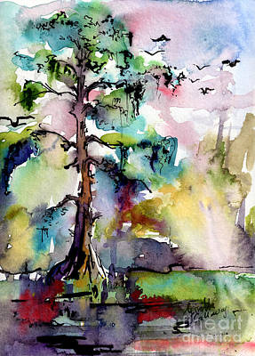 Painting - Tree 1 Swamp Cypress Spanish Moss by Ginette Callaway