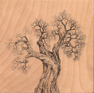 Digital Art - Tree 38 On Wood by Brian Kirchner