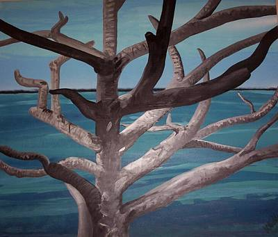Sea Wall Art - Painting - Tree And Beach by Joan Stratton