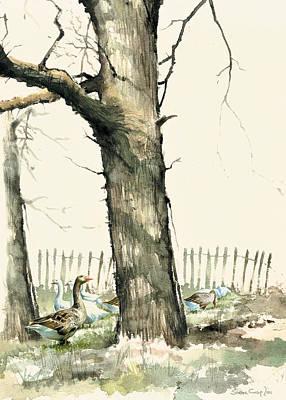 Tree And Geese Art Print by Steve Crisp
