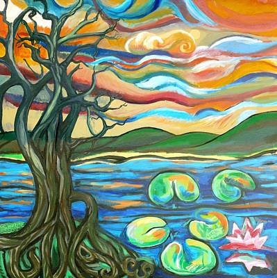 Tree Roots Painting - Tree And Lilies At Sunrise by Genevieve Esson