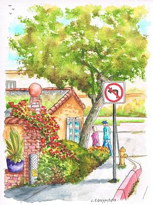 Laguna Beach Painting - Tree And Not Turn To The Left Sign In Laguna Beach - California by Carlos G Groppa