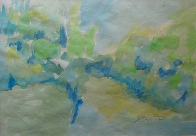 Painting - Tree And Water Impressions Jordan River by Esther Newman-Cohen