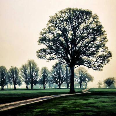 Tree At Dawn On Golf Course Art Print