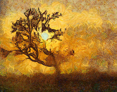Tree At Sunset - Digital Painting In Van Gogh Style With Warm Orange And Brown Colors Art Print by Matthias Hauser