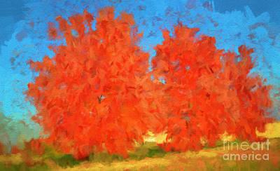 Park Scene Digital Art - Tree - Autumn Wonder - Luther Fine Art by Luther Fine Art