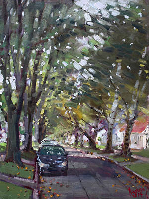 Street Car Painting - Tree Covered 81st Street Lasalle by Ylli Haruni