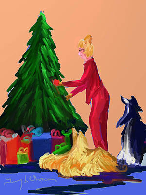 Afghan Hound Digital Art - Tree Decorating by Terry  Chacon