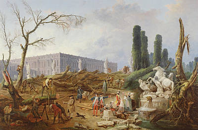 Tree Felling In The Garden Of Versailles Around The Baths Of Apollo, 1775-77 Oil On Canvas Art Print by Hubert Robert