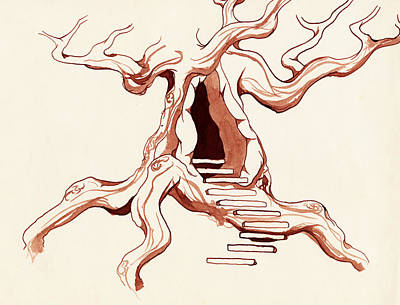 Entrance Door Drawing - Tree House by Daniel P Cronin