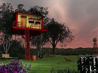 Digital Art - Tree House by John Pangia
