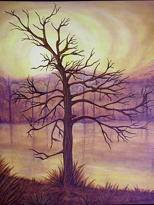 Painting - Tree In Gold Landscape by Jan Wendt