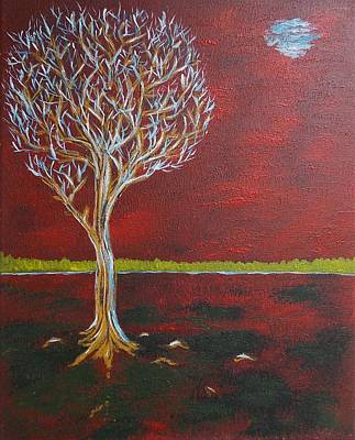 Painting - Tree In Moonlight by Zeke Nord