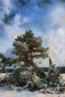 Blue Digital Art - Tree In The Wintery Landscape by Regina Koch