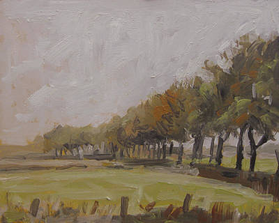 Autumn Painting - Tree Lane In Drizzle Weather by Nop Briex