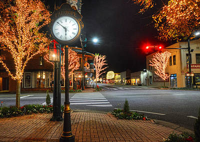 Digital Art - Tree Lights In Fairhope by Michael Thomas
