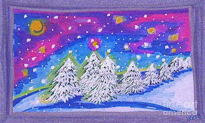 First Snow Drawing - Tree Line By Jrr by First Star Art