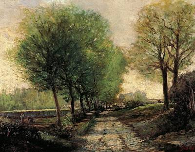 Contemporary Age Painting - Tree-lined Avenue In A Small Town by Alfred Sisley