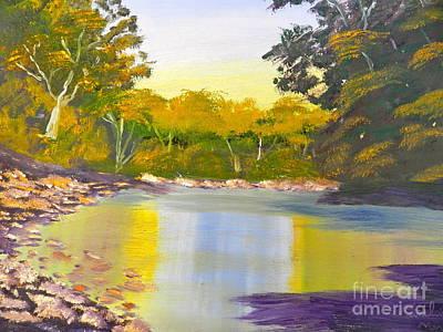 Tree Lined River Art Print
