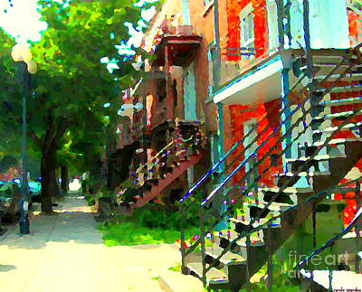Montreal Memories. Painting - Tree Lined Street Verdun Duplexes With Winding Staircases Iconic Montreal City Scene Carole Spandau  by Carole Spandau