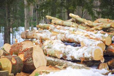 Snow Piles Painting - Tree Logs 1 by Lanjee Chee