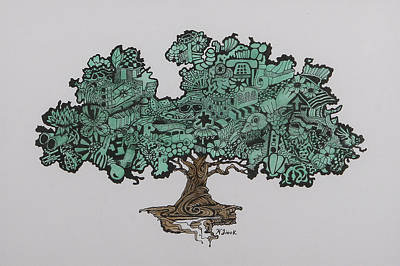 Wall Art - Drawing - Tree Of Bounty by Wendell Fiock