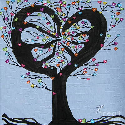 Tree Roots Painting - Tree Of Hearts by Marcia Weller-Wenbert