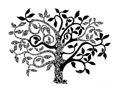 Pen And Ink Painting - Tree Of Life by Anushree Santhosh