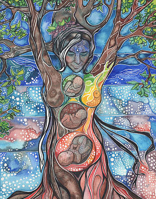 Great White Shark Painting - Tree Of Life - Cha Wakan by Tamara Phillips