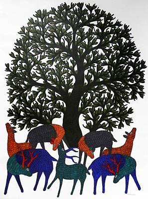 Jangarh Singh Shyam Painting - Tree Of Life Gst- 40 by Gareeba Singh Tekam