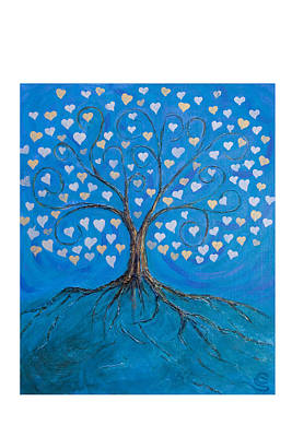 Etheric Digital Art - Tree Of Life Heart Leaves by Clint  B  Smith