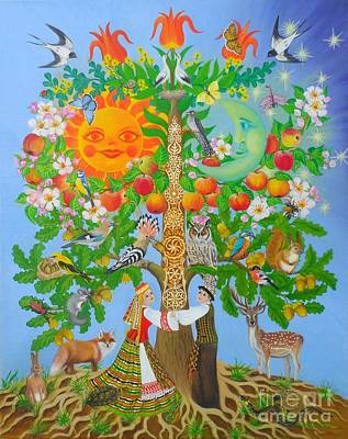 Cuckoo Painting - Tree Of Life by Loreta Mickiene
