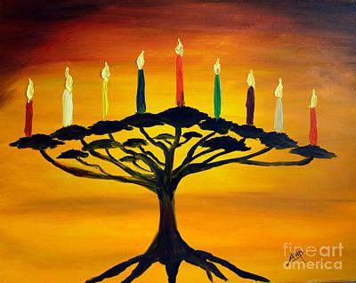 Tree Of Life Menorah Art Print by Avishai Avi     Peretz