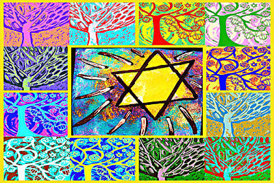 Tree Roots Painting - -tree Of Life Star by Sandra Silberzweig
