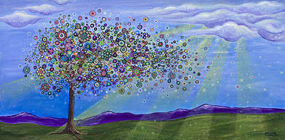 Purple Painting - Tree Of Life by Tanielle Childers