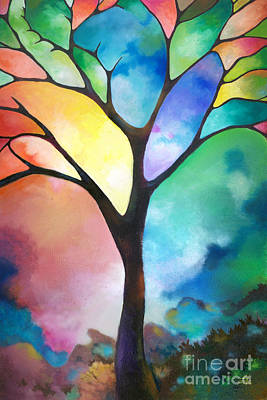 Original Art Abstract Art Acrylic Painting Tree Of Light By Sally Trace Fine Art Art Print