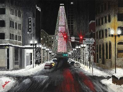 Monument Circle Painting - Tree Of Lights by Jonathan Morgan