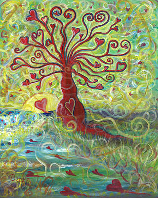 Sun Rays Painting - Tree Of Love  by Beckie J Neff